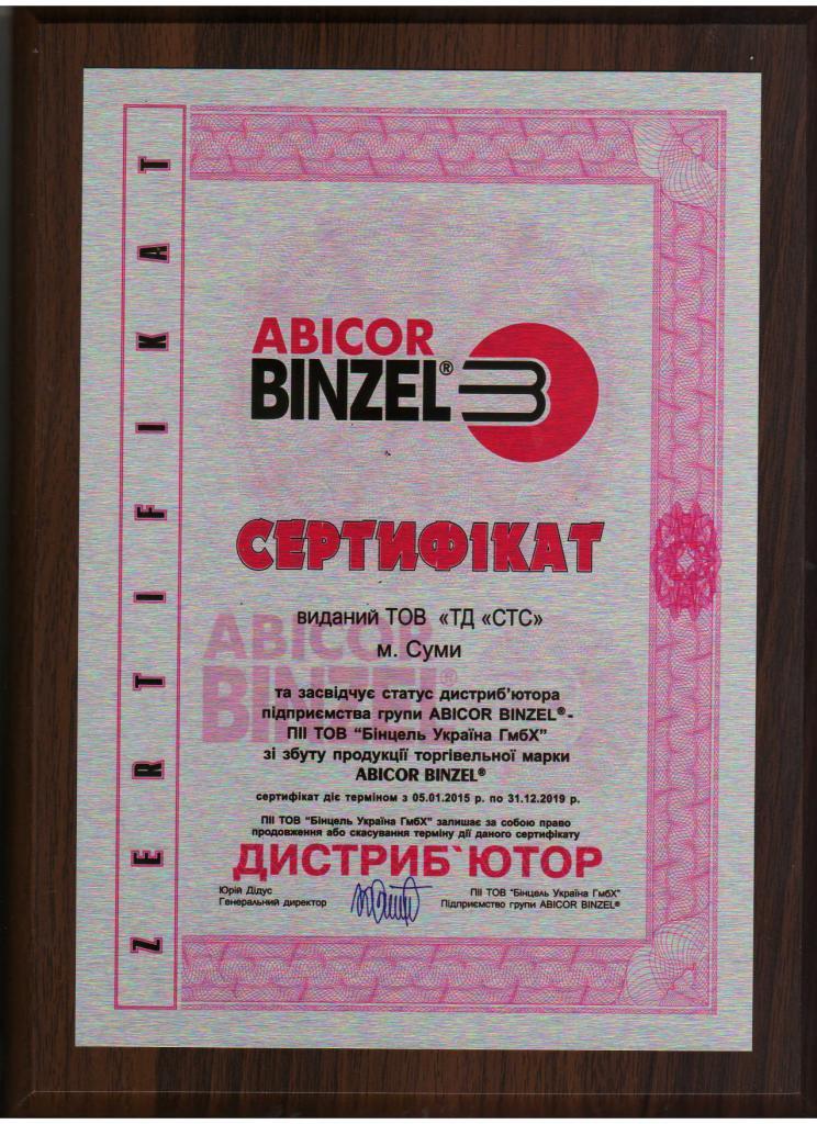 Сертификат диллерства ТОВ ТД СТС с Binzel