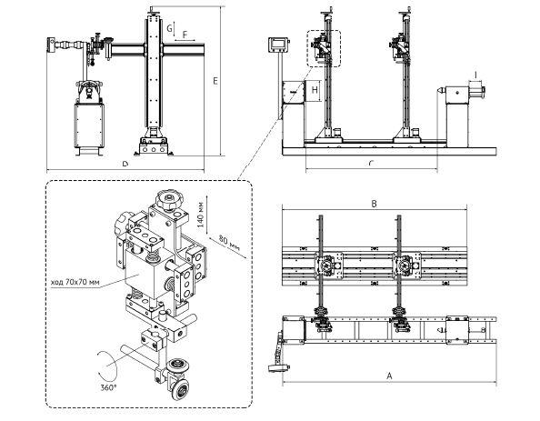 Схема установки для высокопроизводительной автоматической сварки кольцевых швов цилиндрических изделий в две дуги SCB 2000 2M